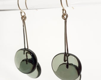Gray Earrings - Contemporary Jewelry - Lampworked Flameworked Earrings - Gray Glass dangling Earrings