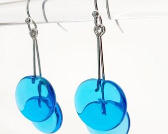 Blue Earrings - Contemporary Jewelry - Lampworked Flameworked Earrings - Blue Aqua Jewelry