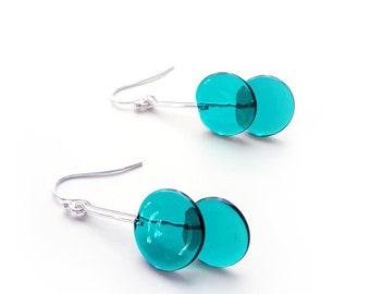 Teal Glass Dangling Earrings - Contemporary Jewelry - Lampworked Flameworked Earrings - Green Teal Earrings