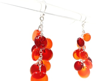 Red Glass Earrings - Contemporary Jewelry - Lampworked Flameworked Earrings - Red Earrings - Dangling Earrings
