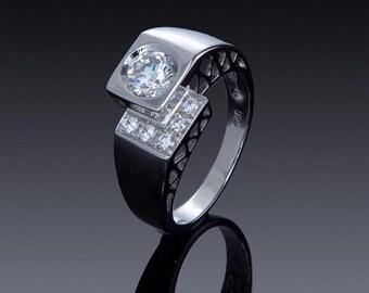 Zircon Engagement ring, 925 sterling silver ring, 14k 18k White Gold Yellow Gold, Swarovski crystals, Gift Idea SKU1843