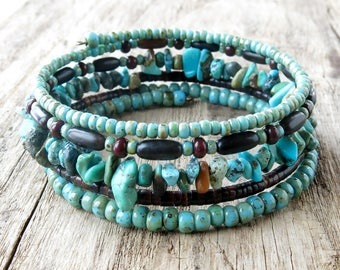 Beaded bracelet stack - turquoise & brown beads memory wire cuff stacked bangles