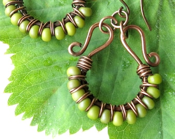 Lime green earrings - chartreuse beaded copper wire wrapped jewelry