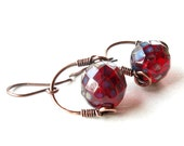 Dark cherry red earrings - copper wire wrapped frosted faceted Czech glass bead