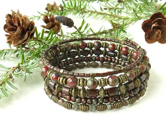 Beaded bracelet stack - Red picasso Czech glass beads stacked memory wire cuff antiqued brass