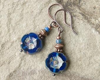 Blue flower earrings - gardener gift Picasso Czech glass & antiqued copper beads
