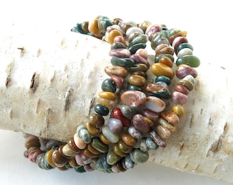 Multicolored bracelet stack natural stone memory wire cuff