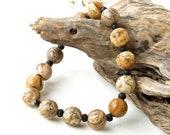 Stretchy bead bracelet - chunky beige brown cream black stone beads