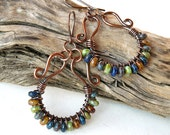 Multicolored beaded earrings - copper wire wrapped hoops - Picasso Czech glass rondelles