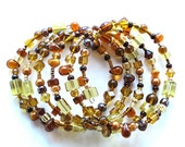 Beaded bracelet stack - sparkling yellow gold topaz brown glass beads
