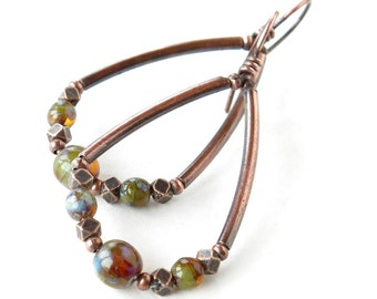 Copper teardrop hoops - Picasso Czech glass beads