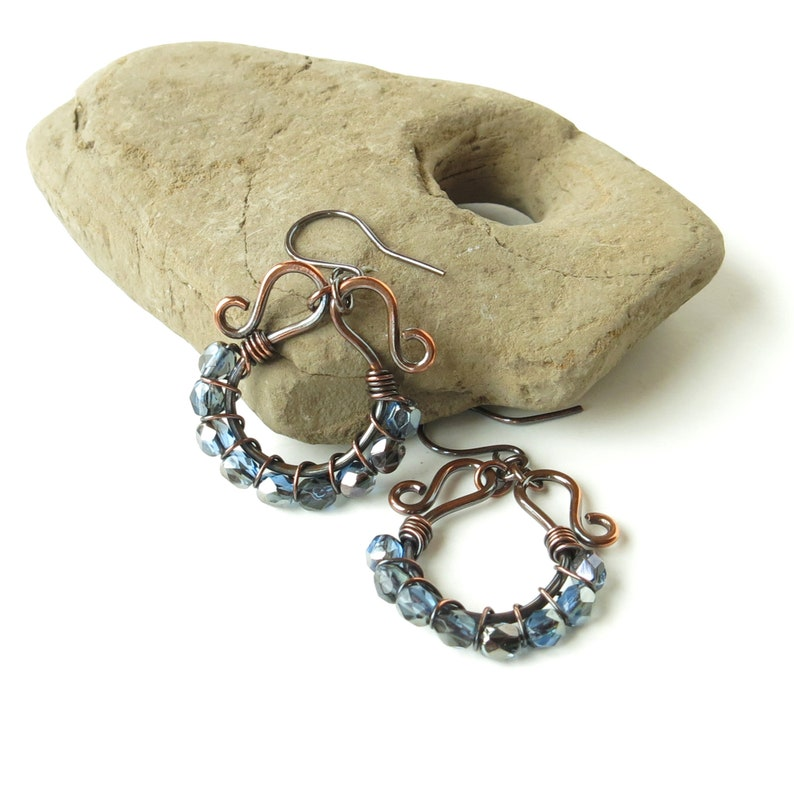 Blue beaded earrings copper wire wrapped sparkling faceted Czech glass bead hoops