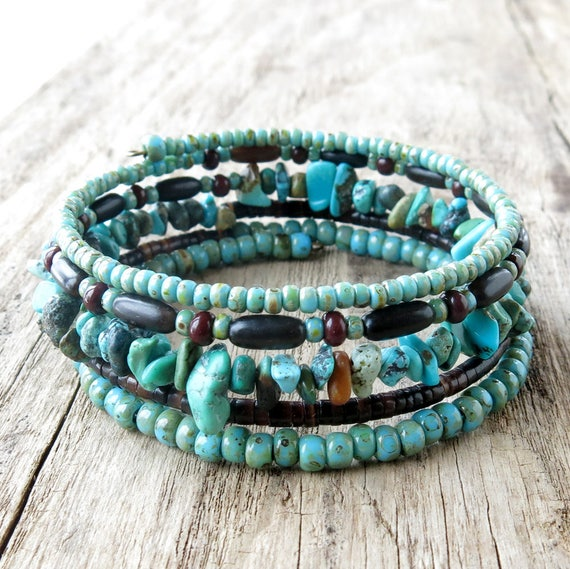 Beaded bracelet stack turquoise & brown beads memory wire   Etsy