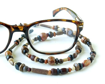 Glasses chain wood beaded eyeglass necklace sunglasses eyewear retainer lanyard cord necklace