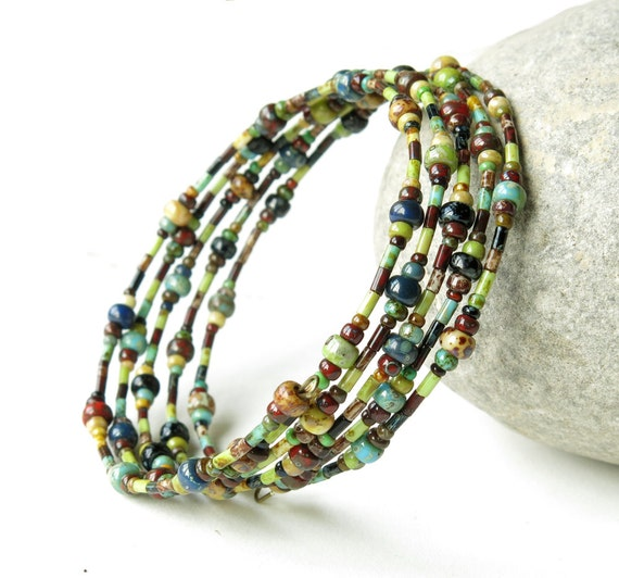 colored glass beads stacked memory wire cuff bracelet for women Multicolor memory wire wrap bracelet memory bracelet Beaded bracelet stack
