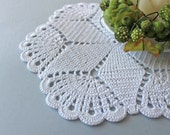 Round crochet doily, Easter table decoration, white lace doily, center piece by Fancyloops Ready to ship