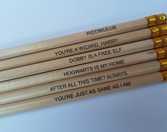 Set of 6 Harry Potter Pencils - Imprinted, Engraved, MUST HAVE Gift For Any Fan