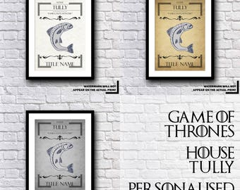 Game Of Thrones - GoT - House Tully Personalised Certificate - Personal Gift