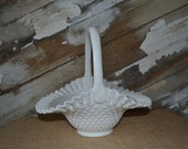 Fenton Milk Glass Hobnail Basket LARGE Glass Basket Vintage Spring Wedding Decor