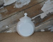 White Grease Jar Container Fire King Vitrock Milk Glass