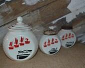 Fire King Vitrock Potted Plant Range Set Grease Jar Salt Pepper Set Milk Glass