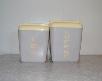 Burroughs Gray Coffee Tea Canister Set of 2 ~ Vintage Storage Canisters