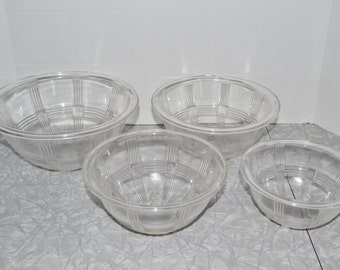 Glass Nesting Mixing Bowls ~ Anchor Hocking Criss Cross ~ Vintage Kitchen ~ Epsteam