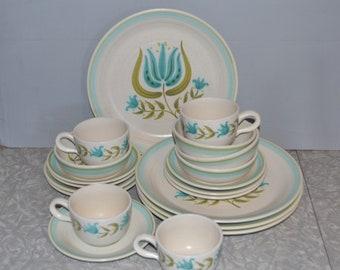 Franciscan Earthenware Tulip Time Dinnerware Set of 20 ~ Turquoise Dinnerware ~ Retro Flower