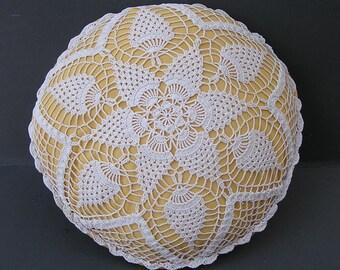 Vintage Hand Crochet Doily Pillow . Cottage Chic Decor