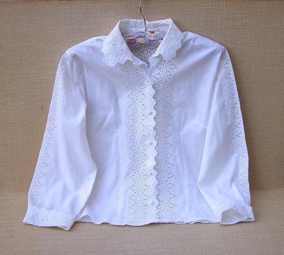 Vintage White Eyelet Embroidery Blouse