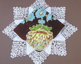 Vintage Floral Handkerchief, Flower Hanky, Golden Mum, Chrysanthemum