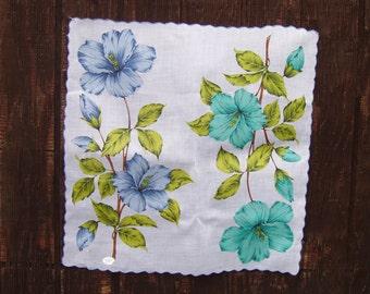 blue hibiscus flower hanky
