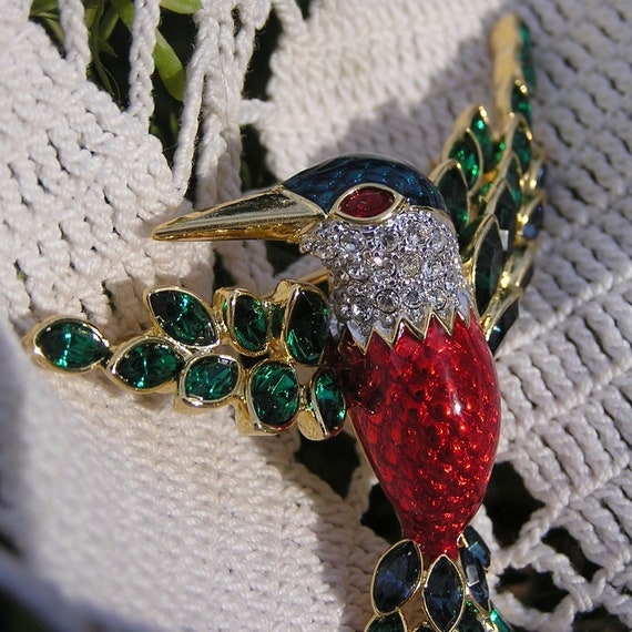 Exotic Bird Jewelry Sterling Marcasite Bird Brooch Kingfisher Bird Lover Gift Plique a Jour Rainbow Colors