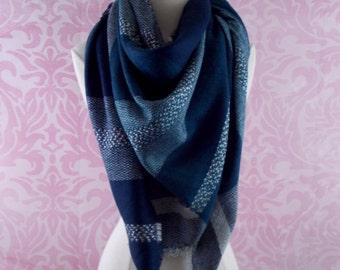 super soft blue blanket scarf/cozy scarf/winter scarf