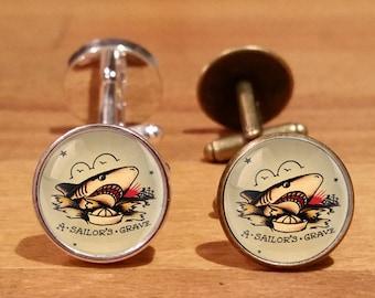 Sailor Jerry cufflinks, Sailor Jerry, Shark cufflinks, Sailors Grave, Tattoo cufflinks, Silver Plated,  Antique Bronze (18C)