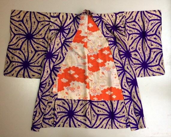 Vintage mid century silk Japanese batik tie dye ha