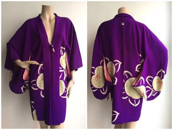 Silk crepe purple vintage Japanese mid century hao