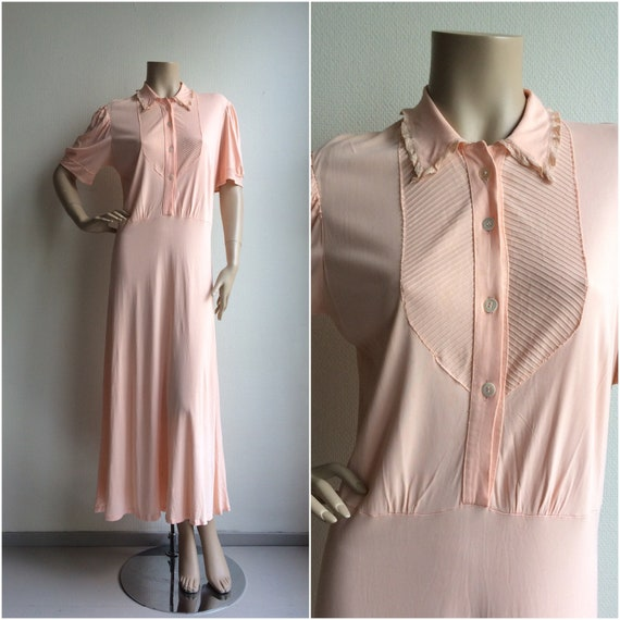1930s rayon ballet pink night gown