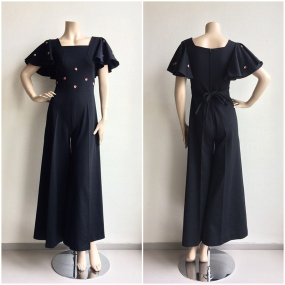 70s does 30s black wide pants jumpsuit with flutte