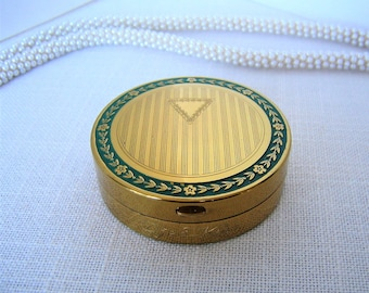Vintage Compact D'JER KISS Compact from Kerkoff Antique Powder & Rouge Brass Compact w Green Trim c1917 Djer Kiss