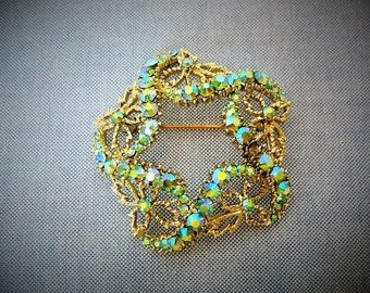 GREEN RHINESTONE BROOCH Pin Light Green w Aurora Borealis Gold Tone Vintage Costume Jewelry Collectible Jewelry Bridal Wedding Gift