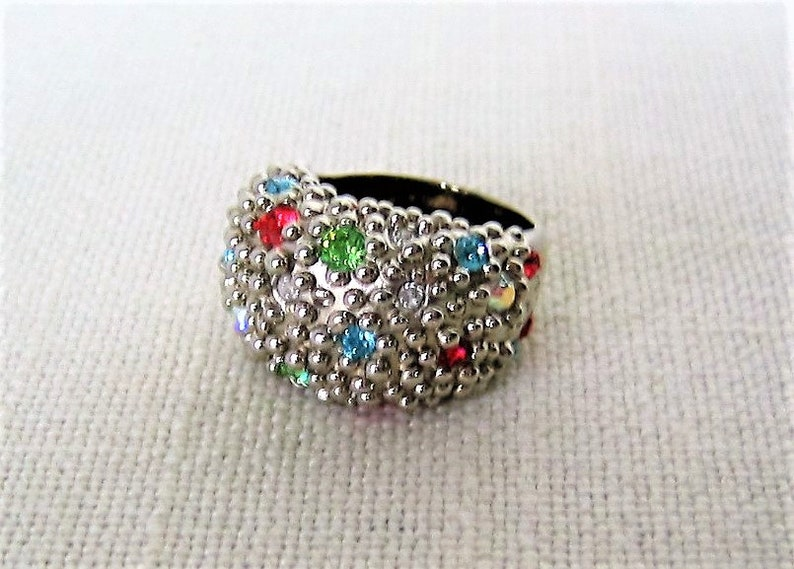 e20b5eadcb82 Sterling Silver Dome Ring Handmade with Multi Swarovski