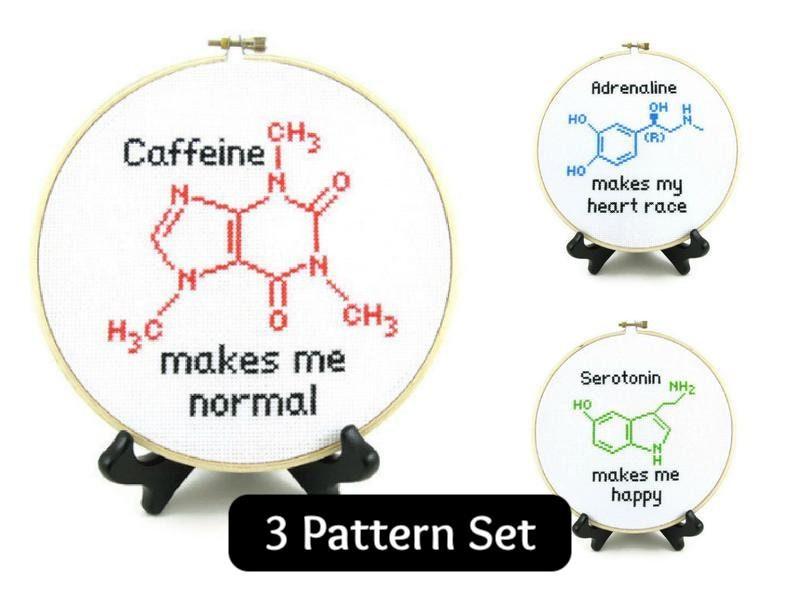 Molecule Cross Stitch Pattern Set  Adrenaline Caffeine & image 0