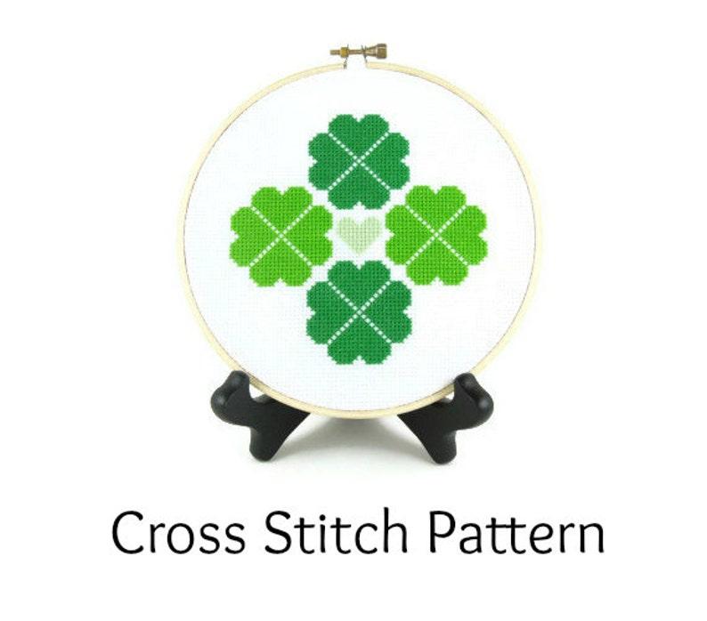 Shamrock Four Leaf Clover St. Patrick's Day Cross Stitch image 0
