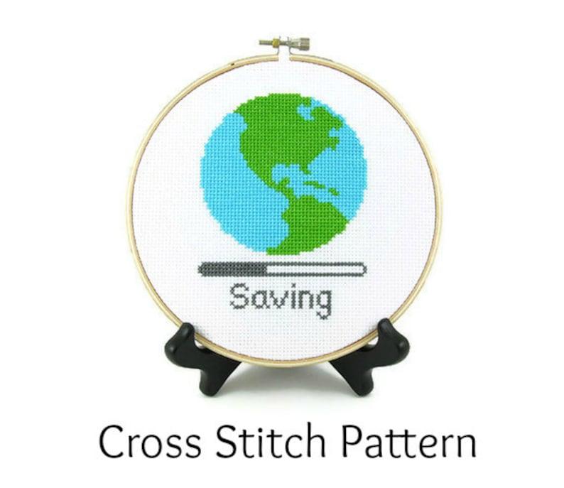Saving Planet Earth Cross Stitch Pattern image 0