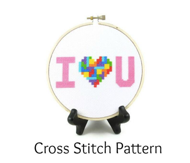 Tetris Heart  I Love You Cross Stitch Pattern image 0