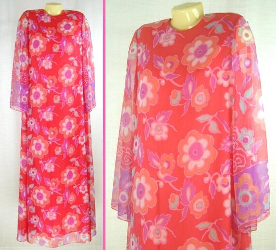 Vtg 70s – 80s MAXI Floral Sheer Sleeves ~NAT KAPLA