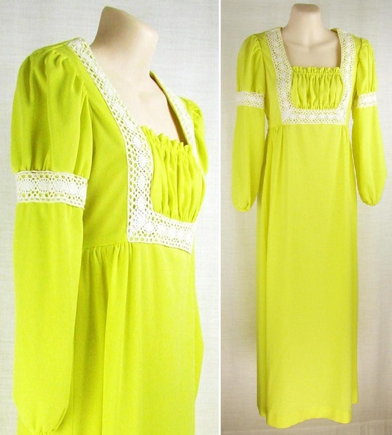 vintage 70s Bright Yellow MAXI Dress wide lace acc
