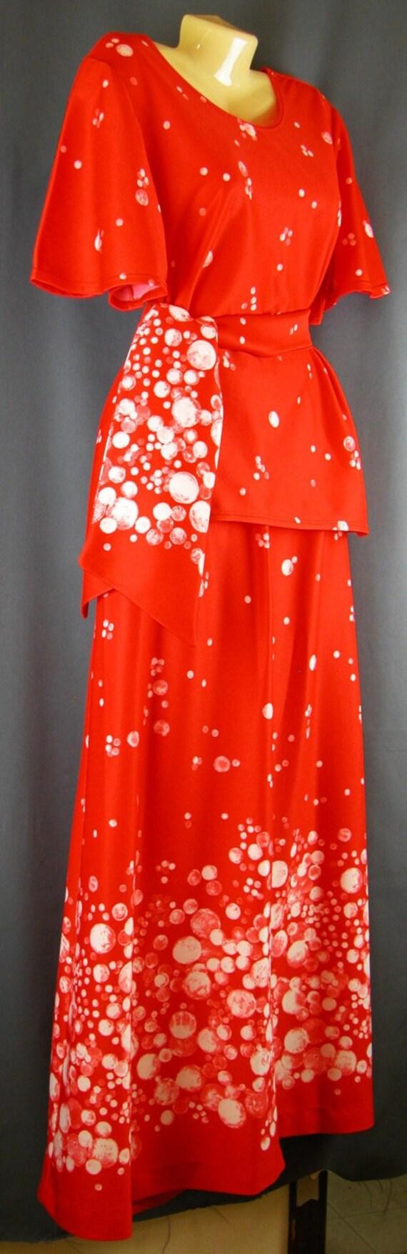 MOD 2 Piece maxi Dress Red op art large-extra larg