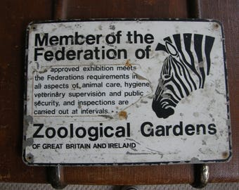 VINTAGE Zoological METAL , zebra sign,nice size looks great,free uk post